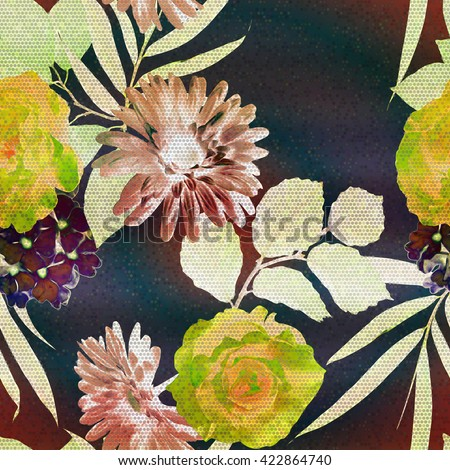 art vintage floral seamless pattern with golden, green and brown roses,  asters and leaves on dark blue background; halftone effect  - stock photo