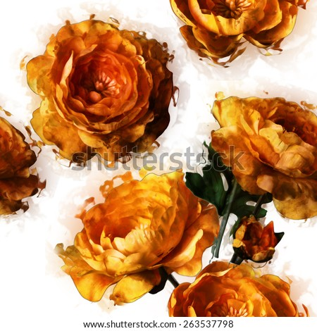art vintage floral seamless pattern  with golden peonies isolated on white background - stock photo