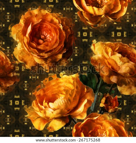 art vintage floral seamless pattern  with golden peonies on gold and black ornamental background - stock photo