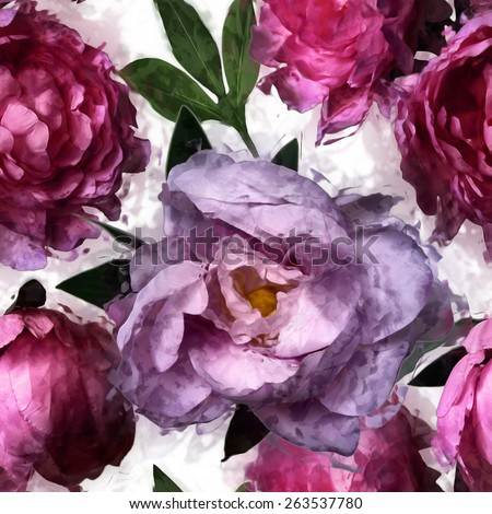 art vintage floral seamless pattern  with pink and lilac peonies isolated on white background - stock photo