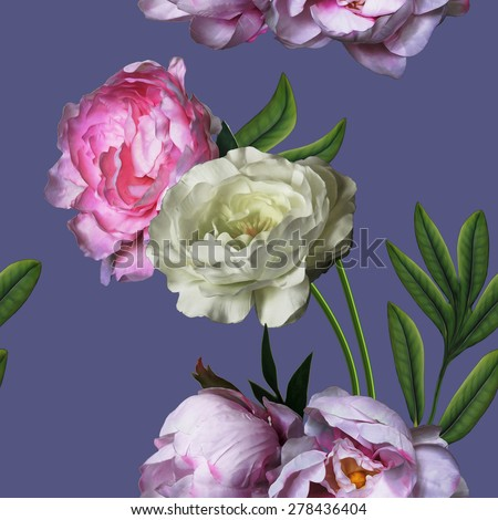 art vintage floral seamless pattern with pink and white peonies isolated on violet blue background  - stock photo