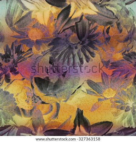 art vintage floral seamless pattern with purple, pink, grey, orange gold roses, peonies ,lilies asters, gerbera and leaves on background; halftone effect  - stock photo