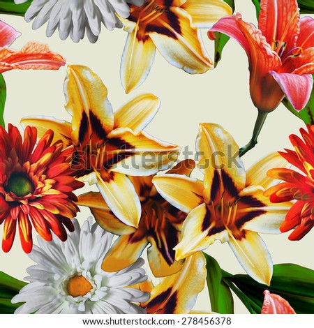 art vintage floral seamless pattern with red, gold yellow and white gerberas and lilies isolated on light background  - stock photo