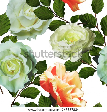 art vintage floral seamless pattern  with tea white and peach roses isolated on white background - stock photo