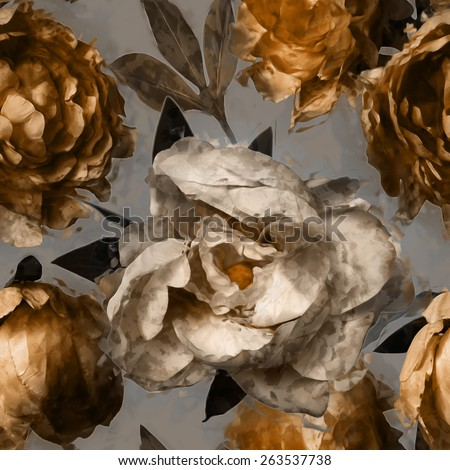 art vintage floral seamless pattern  with white and gold peonies on grey background - stock photo