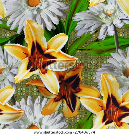 art vintage floral seamless pattern with yellow and white gerberas and lilies on green damask background  - stock photo