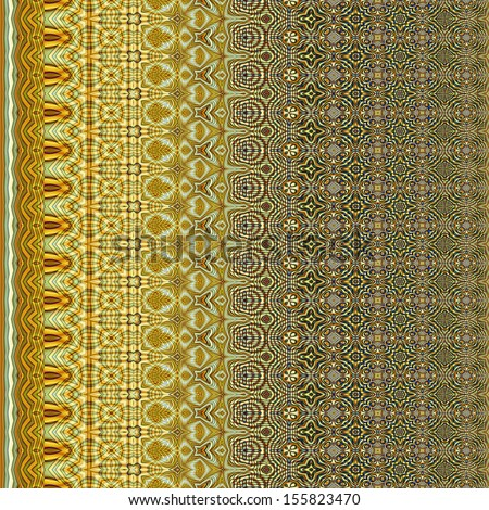 art vintage geometric ornamental vertical seamless pattern, light green and golden border - stock photo