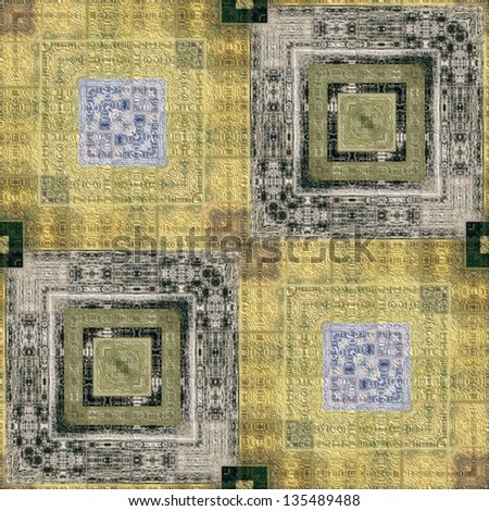 art vintage geometric traditional ornamental pattern in grey, black and light yellow colors - stock photo