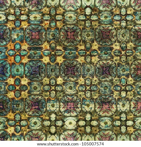 art vintage grunge background with damask  patterns in green, brown and beige colors - stock photo