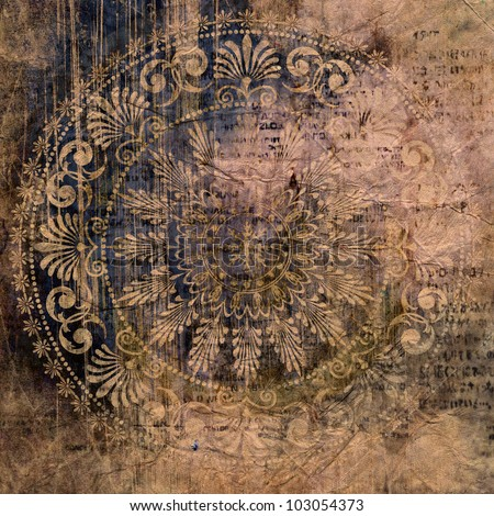 art vintage grunge damask pattern on paper textured background in dark salmon, olive, brown and blue colors