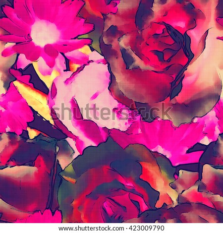 art vintage monochrome colored watercolor floral seamless pattern with pink red roses, peonies, gerbera and asters on  background - stock photo