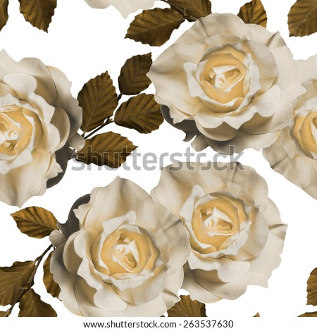 art vintage monochrome floral seamless pattern with tea white roses isolated on white background - stock photo