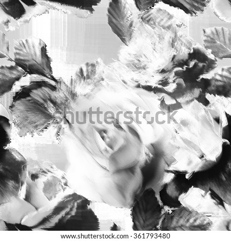 art vintage monochrome floral seamless pattern with white and black roses and peonies on light grey background. Double Exposure effect