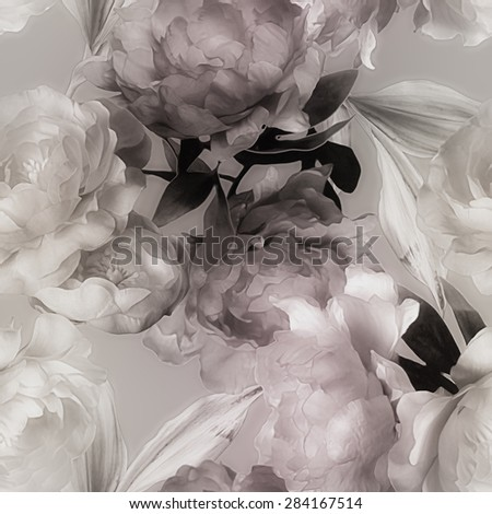 art vintage monochrome graphic and watercolor blurred floral seamless pattern with white and purple peonies on grey background - stock photo