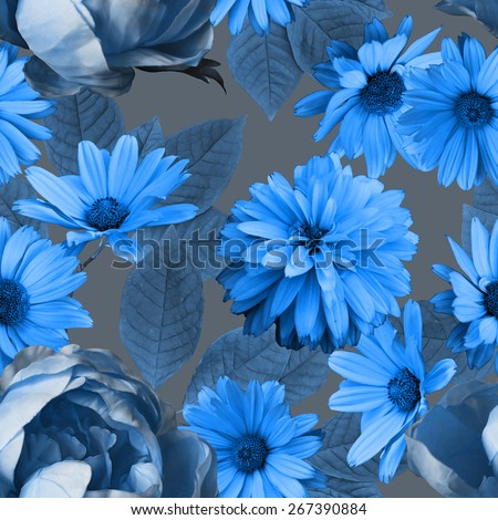 art vintage monochrome graphic and watercolor floral seamless pattern with blue peonies and asters on blue grey background - stock photo