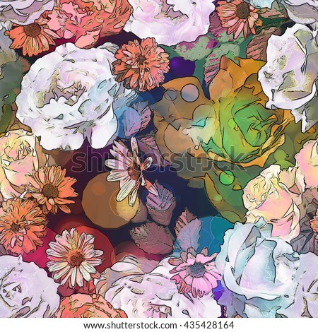 art vintage monochrome orange brown blurred floral seamless pattern with roses, asters and peonies on dark background. Bokeh effect - stock photo