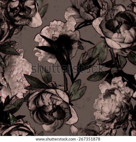 art vintage monochrome watercolor and graphic floral seamless pattern with pink peonies on dark purple background - stock photo