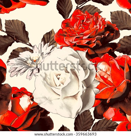art vintage monochrome watercolor and graphic floral seamless pattern with white and red roses and peonies isolated on white background