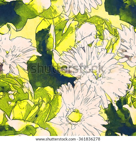art vintage monochrome watercolor and graphic floral seamless pattern with white and yellow green roses, lilies and gerberas on light yellow background