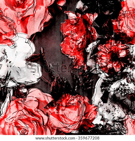 art vintage monochrome watercolor and graphic floral seamless pattern with white, black and pink roses and peonies on dark purple background - stock photo