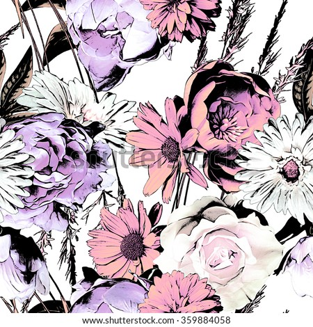 art vintage monochrome watercolor and graphic floral seamless pattern with white, black, violet and pink roses, asters and peonies isolated on white background