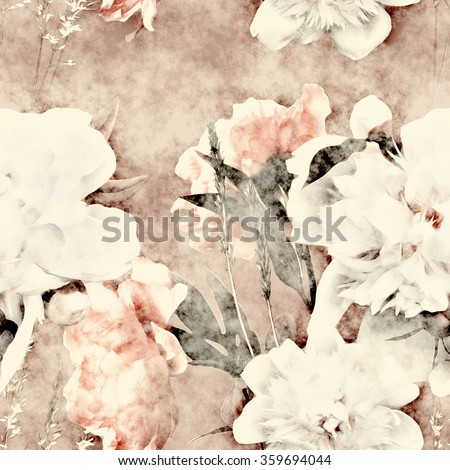 art vintage monochrome watercolor and graphic floral seamless pattern with white, old gold and pink roses and peonies on light brown background
