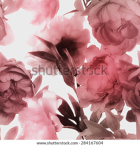 art vintage monochrome watercolor blurred floral seamless pattern with red peonies isolated on white background - stock photo