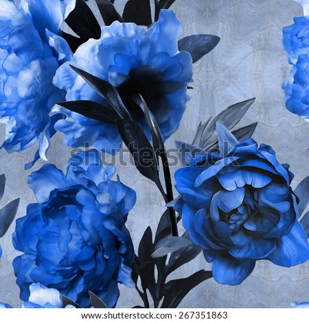 art vintage monochrome watercolor floral seamless pattern with blue peonies on blue background