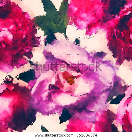 art vintage monochrome watercolor floral seamless pattern  with pink and lilac peonies isolated on white background - stock photo