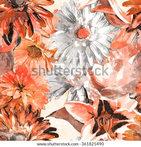 art vintage monochrome watercolor floral seamless pattern with white and orange roses, lilies and gerberas on white background - stock photo