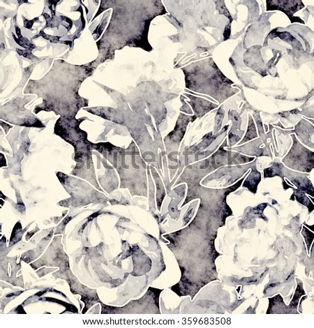 art vintage monochrome watercolor floral seamless pattern with white blue peonies on dark blue background - stock photo