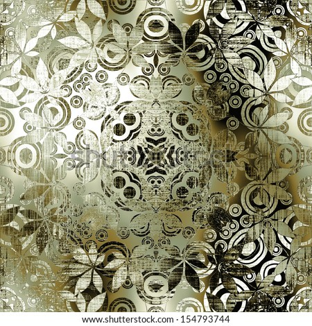 art vintage ornamental seamless pattern, monochrome metal background in white, black and olive gold colors - stock photo