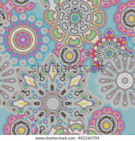 art vintage stylized geometric flowers seamless pattern, colored background