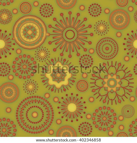 art vintage stylized geometric flowers seamless pattern, colored background in green, orange, old gold, yellow, red and brown colors