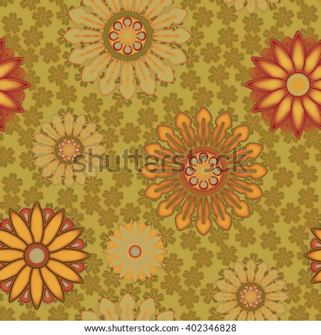 art vintage stylized geometric flowers seamless pattern, colored background in old gold, red, orange, yellow and brown colors