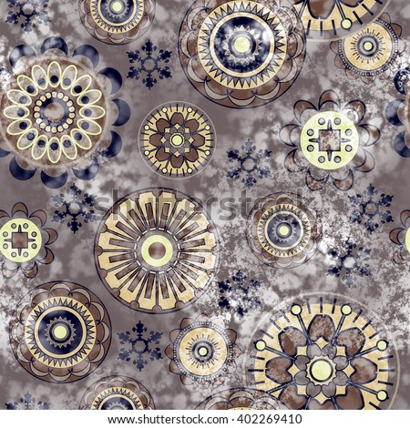 art vintage stylized geometric flowers seamless pattern, colored background with brown color - stock photo