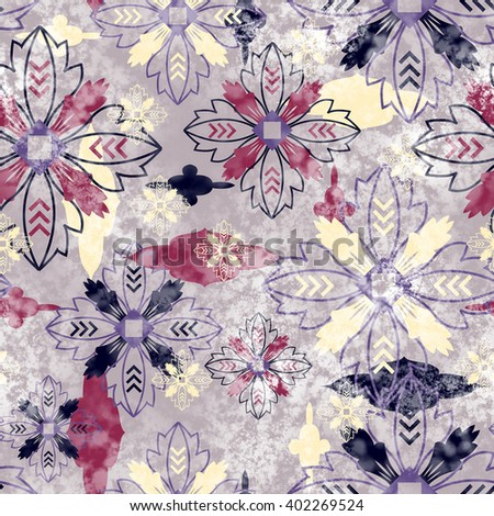 art vintage stylized geometric flowers seamless pattern, colored background with lilac, purple red, milk white and black color