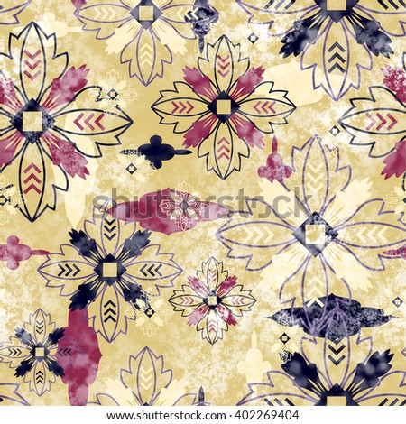 art vintage stylized geometric flowers seamless pattern, colored background with old gold, red and black color - stock photo