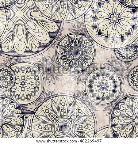 art vintage stylized geometric flowers seamless pattern, monochrome background with  black and white colors