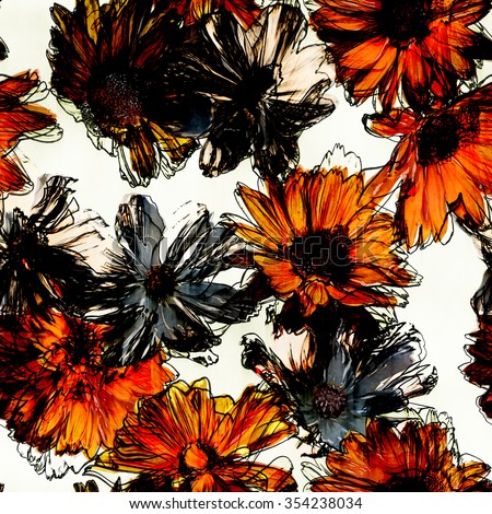 art vintage watercolor and graphic floral seamless pattern with orange and grey asters isolated on white background - stock photo