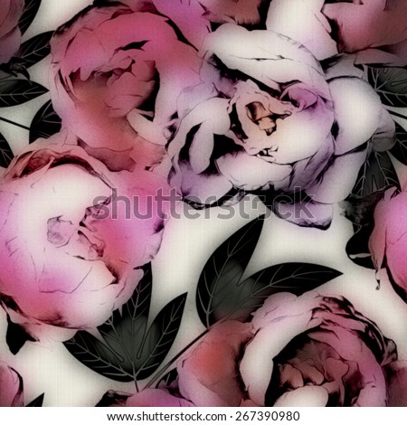art vintage watercolor and graphic floral seamless pattern with pink, purple and lilac peonies isolated on light background - stock photo