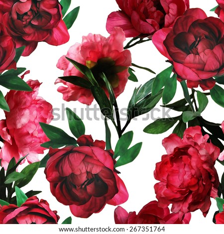 art vintage watercolor and graphic floral seamless pattern with red peonies isolated on white background - stock photo