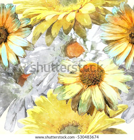 art vintage watercolor floral seamless pattern with asters and chamomile, leaves and grasses on background.