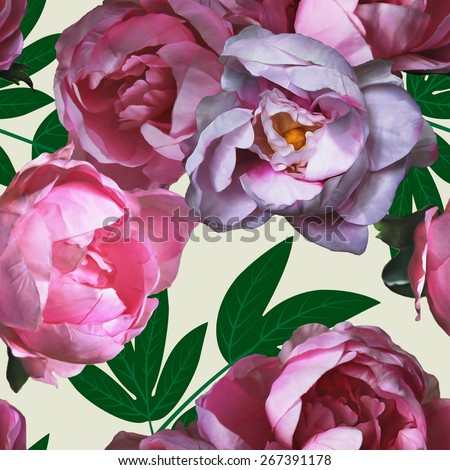 art vintage watercolor floral seamless pattern with pink, purple and lilac peonies isolated on light background - stock photo
