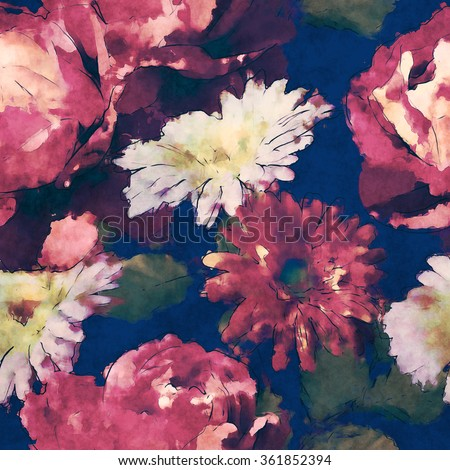 art vintage watercolor floral seamless pattern with purple and white roses and  gerbera on dark blue background - stock photo