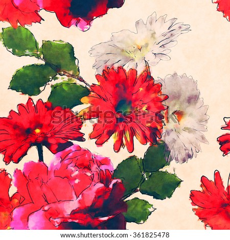 art vintage watercolor floral seamless pattern with red and white roses and  gerbera isolated on white background - stock photo