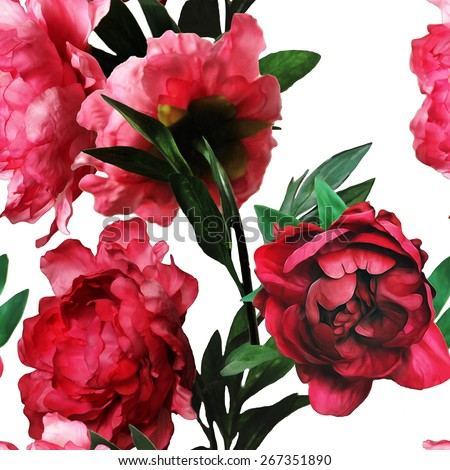 art vintage watercolor floral seamless pattern with red peonies isolated on white background - stock photo