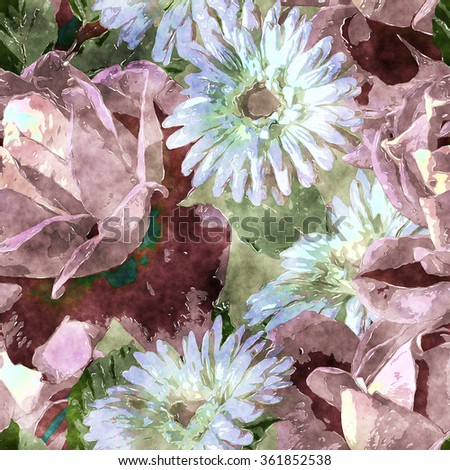 art vintage watercolor floral seamless pattern with white and light purple red roses and gerberas on  background - stock photo