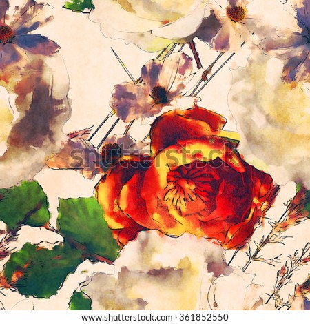 art vintage watercolor floral seamless pattern with white and orange gold roses and asters on white background - stock photo