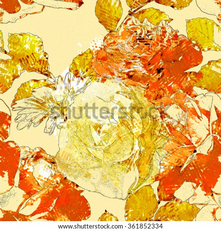 art vintage watercolor floral seamless pattern with white, gold and orange roses and gerberas on light yellow background - stock photo